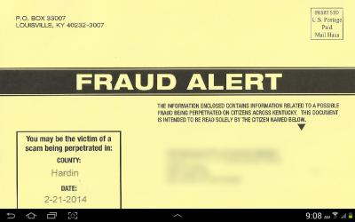 Screenshot fraud alert