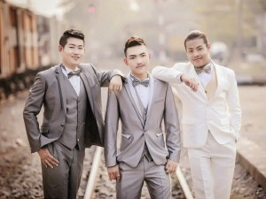 Joke, 29, Bell, 21 and Art, 26 tied the knot on Valentine's Day, 2015