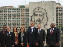 Cuban delegation in front of Che