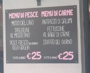 Menu at Trattoria S. Giacomo